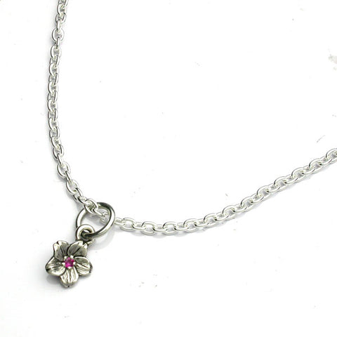 Saito - Sakura Silver Pendant top (Silver 925) with Natural Ruby 2.25 diameter - Small with 50 cm silver chain