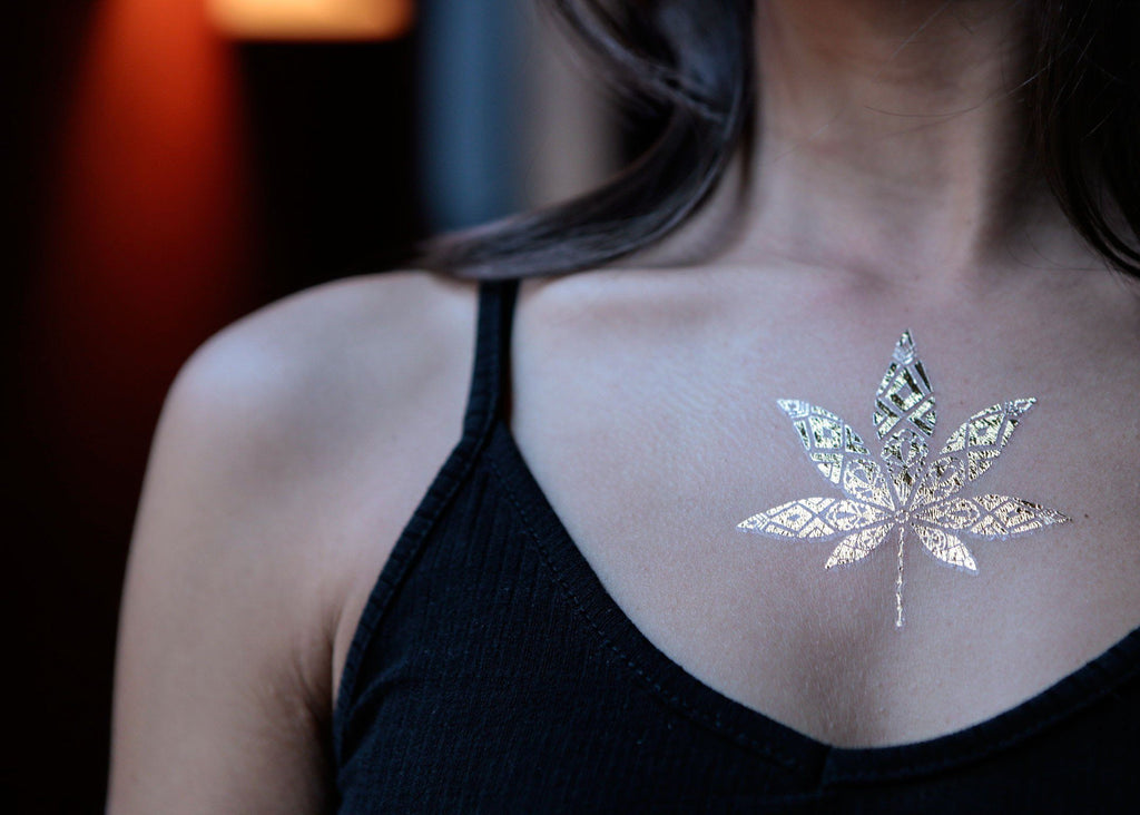 Cannabis Metallic Temporary Tattoos
