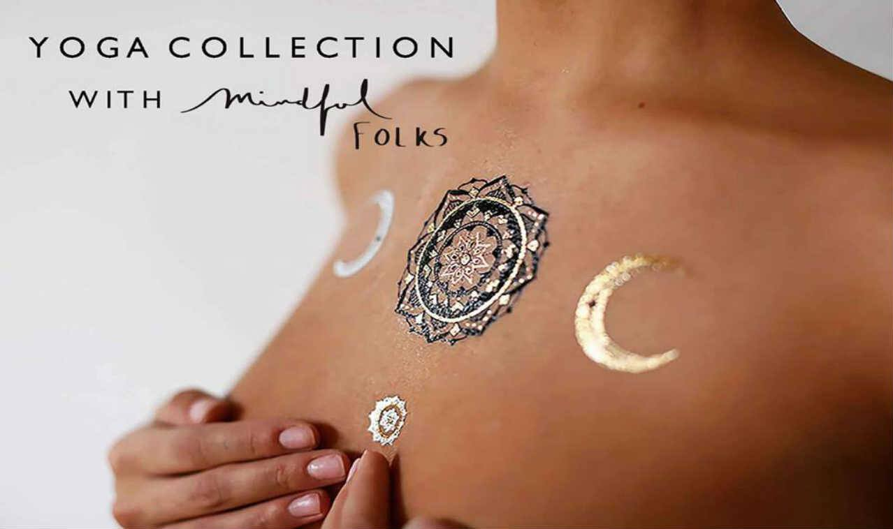 Yoga-Inspired Flash Tattoos in Gold, Rose Gold, Silver, Navy Blue and Black