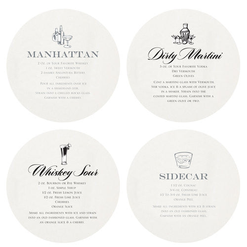 Letterpressed Martini Coasters
