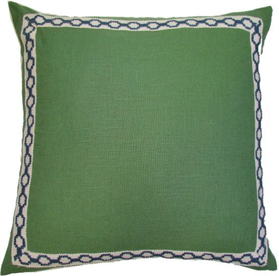 Kelly Green Linen Pillow with Navy Hampton tape