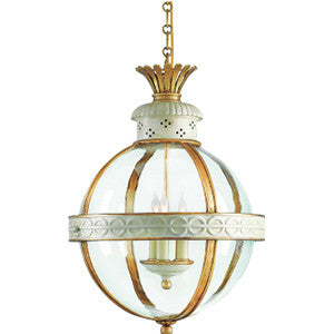Crown Top Banded Globe in Antique White