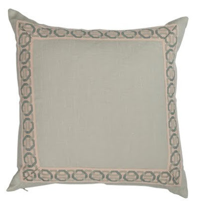 Seafoam Linen Pillow with Interlaced Braid trim
