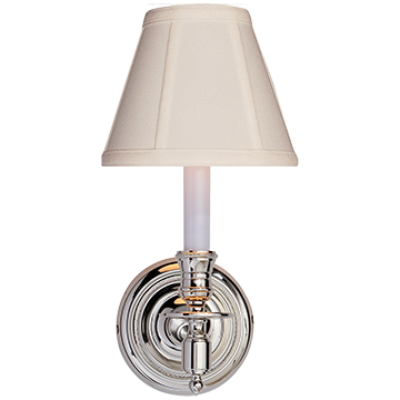 French Single Sconce in Polished Nickel with Tissue Shade