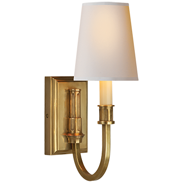 Modern Library Sconce in Hand-Rubbed Antique Brass