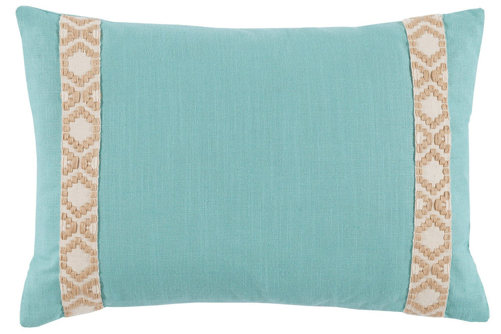 Peacock Linen with tan on off white camden tape Lumbar Pillow