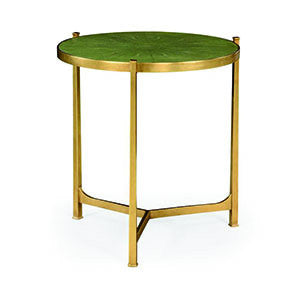 Green round faux shagreen gilded side table