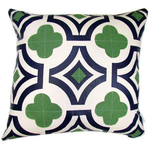 Quatrefoil- Navy W/ Kelly Green Pillow