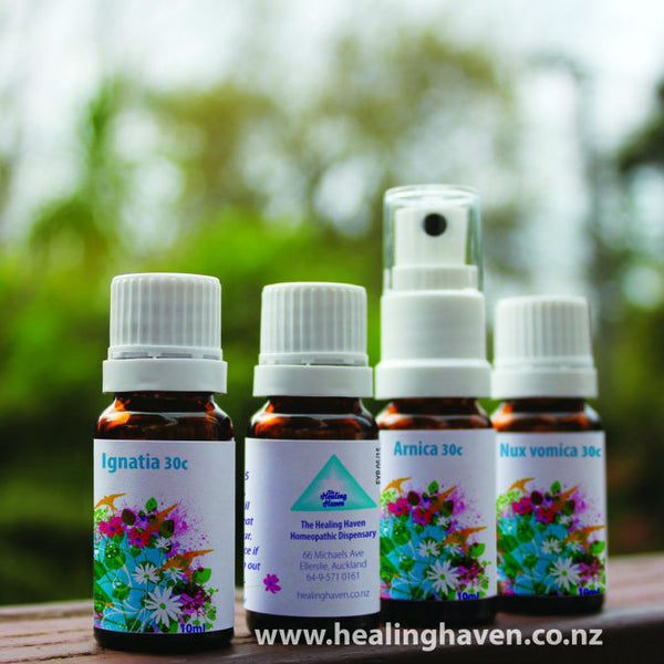 homeopathic bottles of remedy in dropper, spray and pillule option