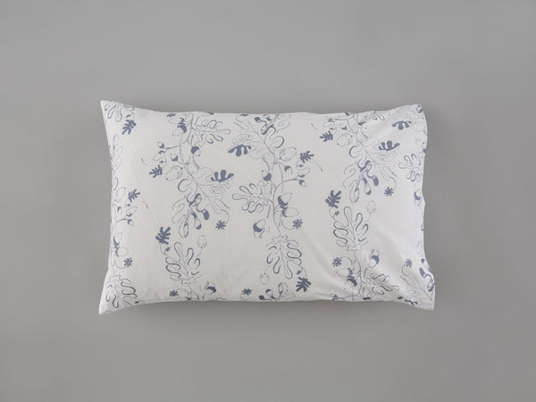 Grey Oak Leaf & Acorn Pillowcase