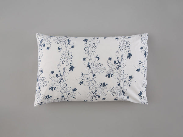 Navy Oak Leaf & Acorn Pillowcase