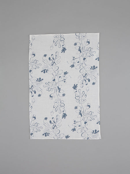 Grey Oak Leaf & Acorn Tea Towel