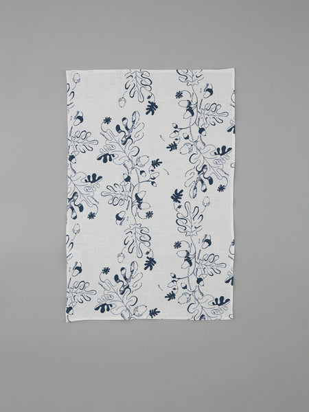 Navy Oak Leaf & Acorn Tea Towel