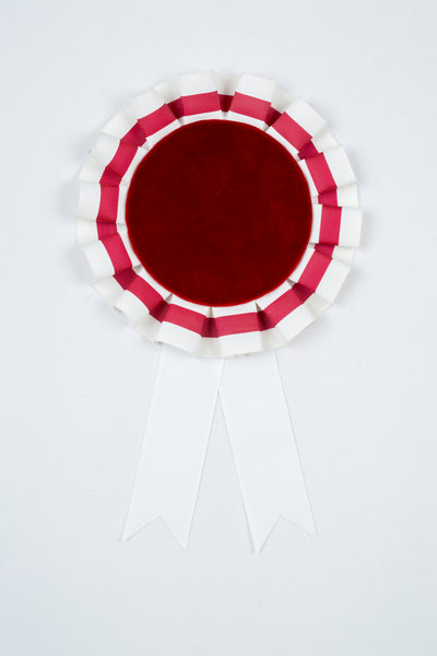 Small Burgundy and White Striped Rosette