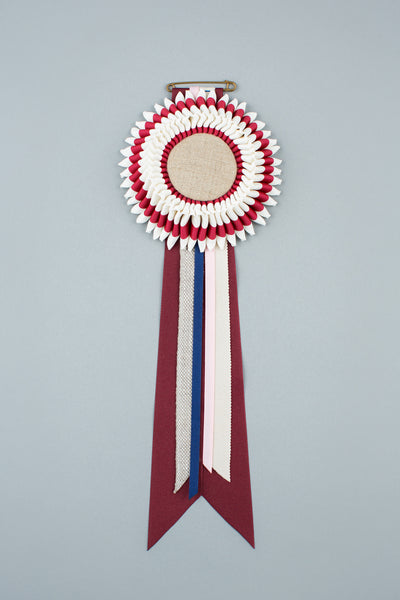 Maroon and white stripe Rosette