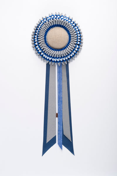 Medium Grey, Blue and White Stripe Rosette