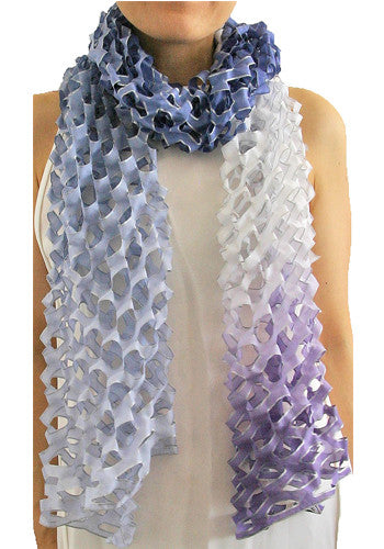 'Tanabata' ombre silk scarf - twilight blue