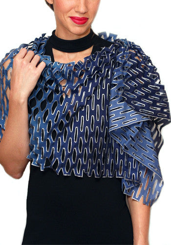 'Tanabata' ombre silk scarf - blue nocturne