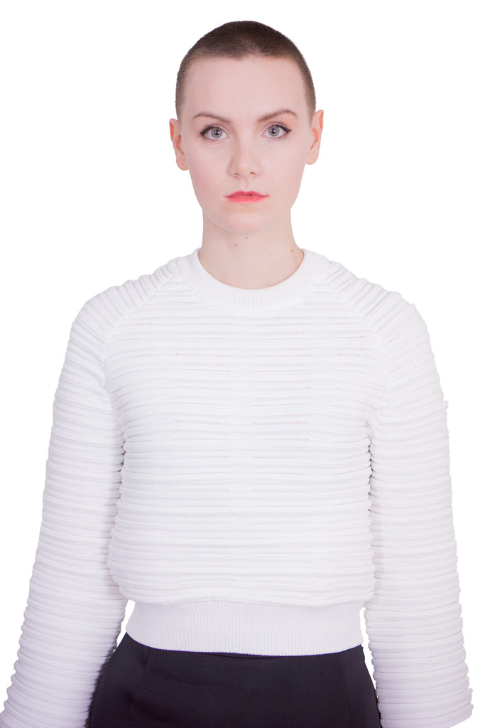 Aula - Ripple wide-sleeved pullover - white - Butikku - 5