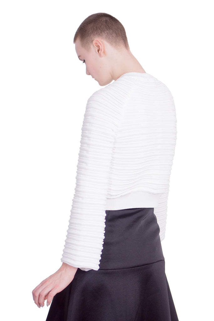 Aula - Ripple wide-sleeved pullover - white - Butikku - 3