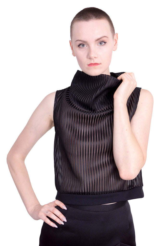 Stripe Mesh high-neck sleeveless top - black