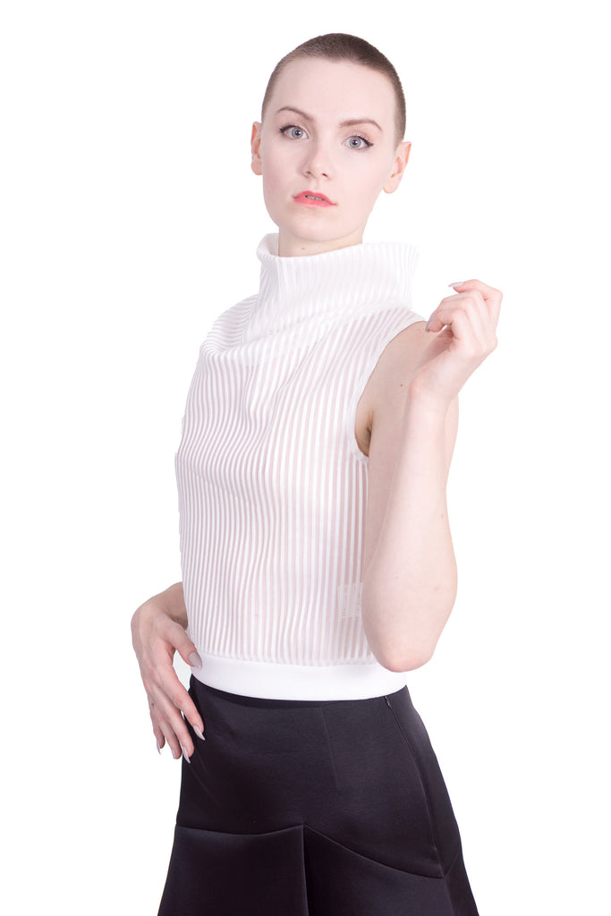 Aula - Stripe mesh high-neck sleeveless top - white - Butikku - 2