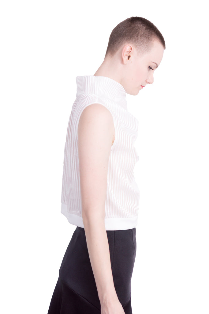 Aula - Stripe mesh high-neck sleeveless top - white - Butikku - 5