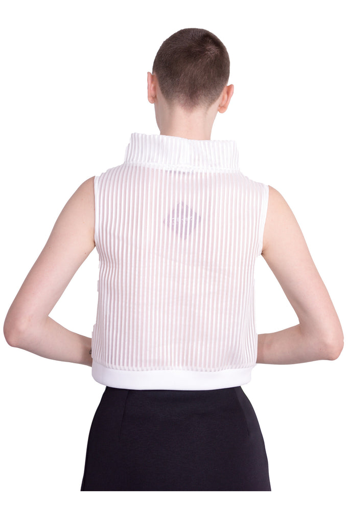 Aula - Stripe mesh high-neck sleeveless top - white - Butikku - 6