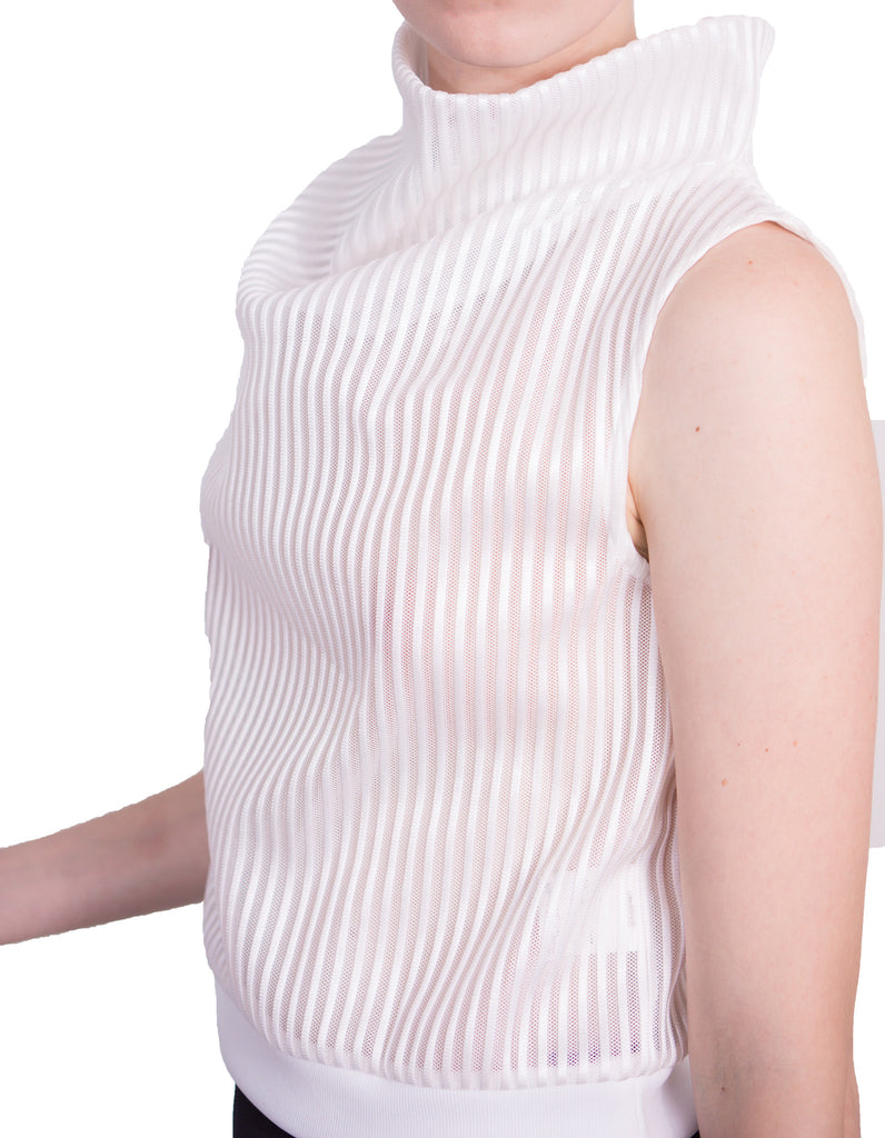 Aula - Stripe mesh high-neck sleeveless top - white - Butikku - 4