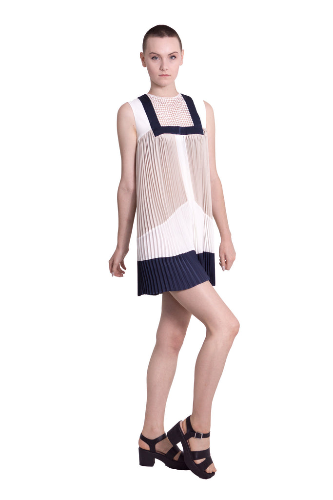 Colour block sleeveless dress - white