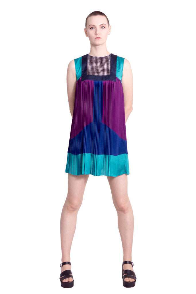 Colour block sleeveless dress - blue