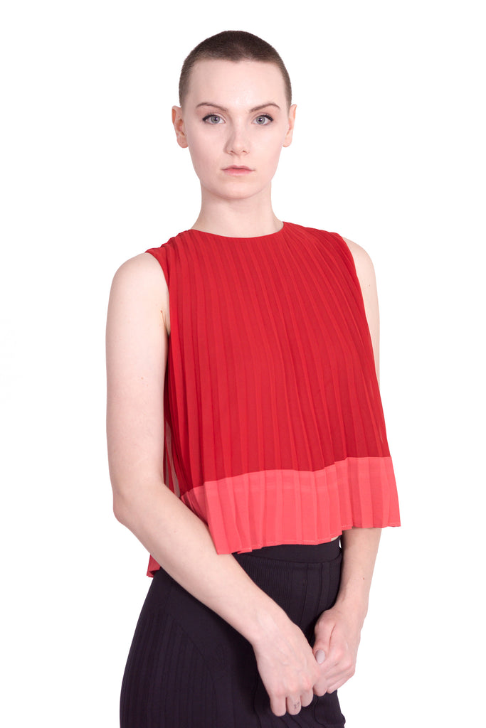 Colour block pleated sleeveless top