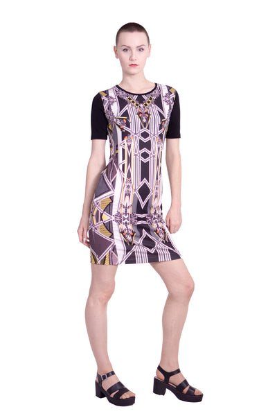 Somarta - stained glass jersey dress (yellow) - Butikku - 1