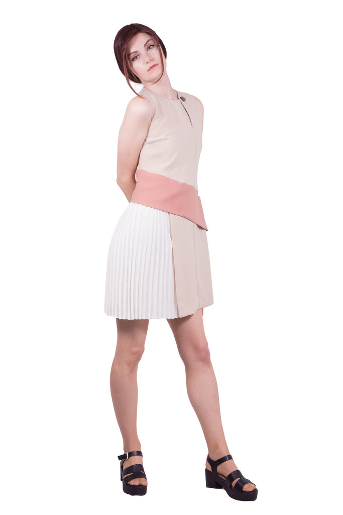 Colour block dress with drape - beige