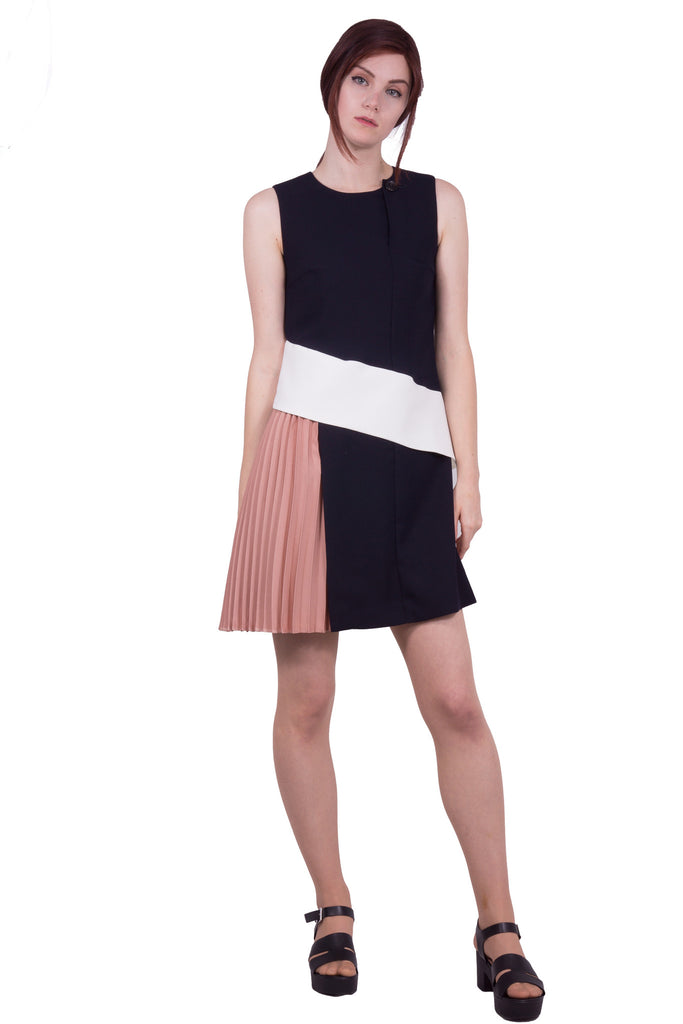Colour block dress with drape - navy