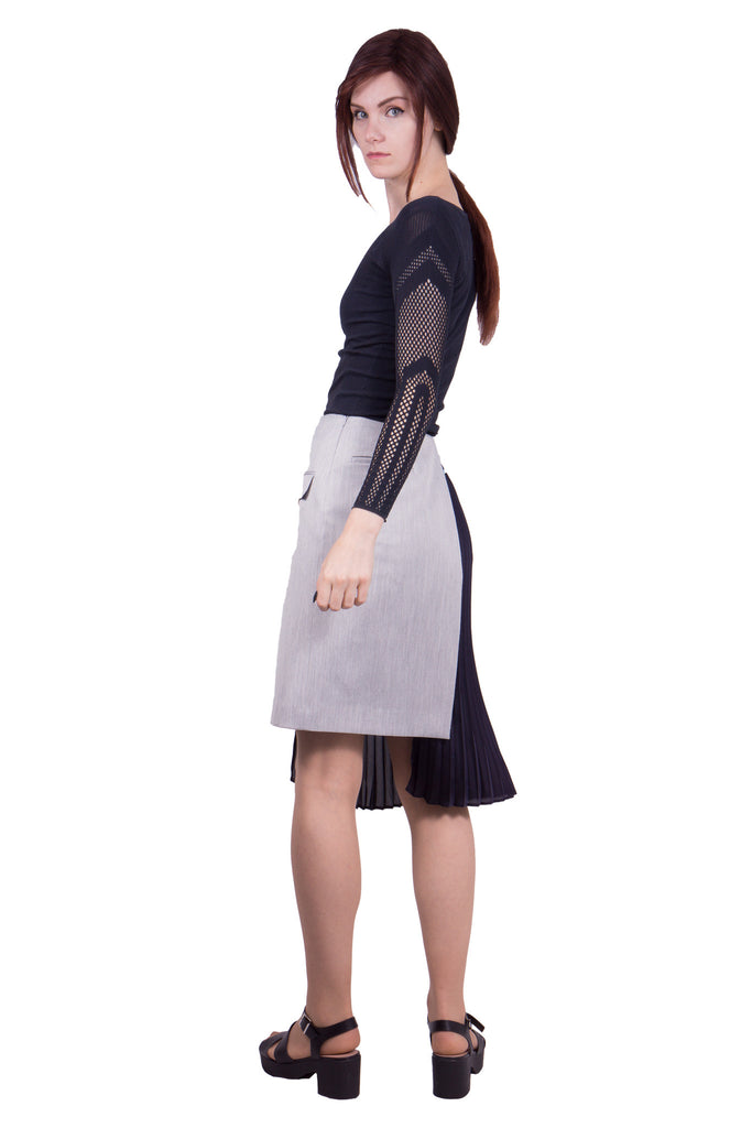 Asymmetric colour block skirt with pleats Grey by Yasutoshi Ezumi - Butikku ブティック