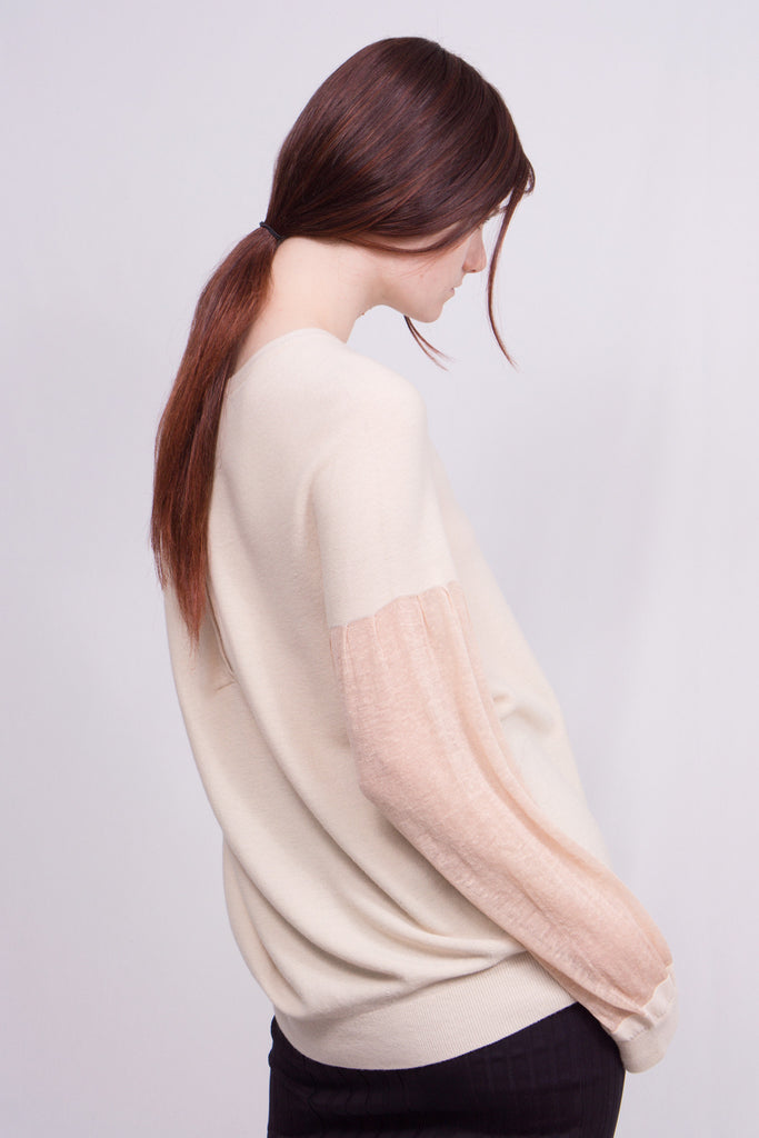 dual texture pullover