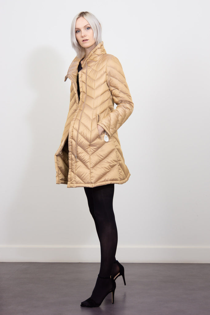 herringbone down coat