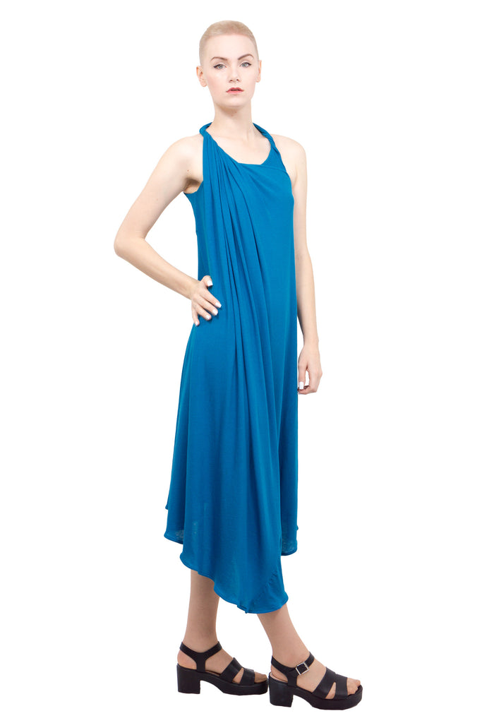 Divka - Asymmetric sleeveless gown - blue - Butikku - 4