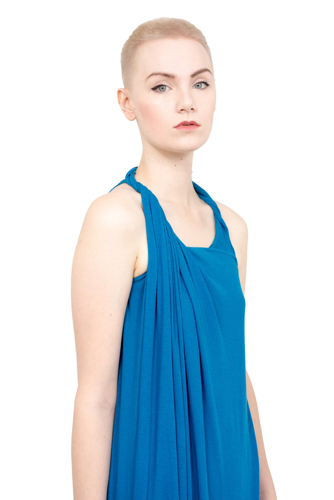 Divka - Asymmetric sleeveless gown - blue - Butikku - 2