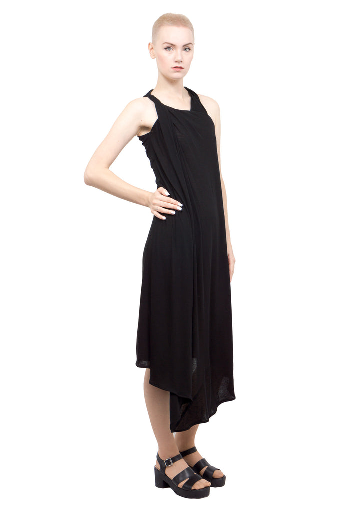 Divka - Asymmetric sleeveless gown - black - Butikku - 2