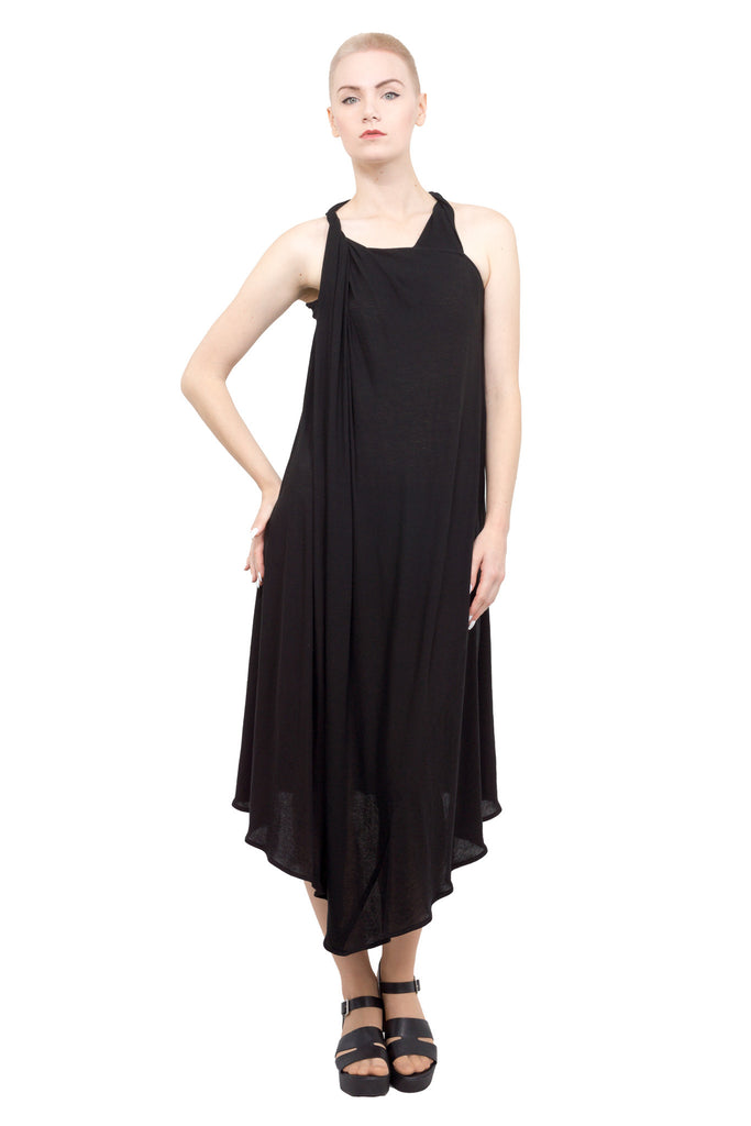 Divka - Asymmetric sleeveless gown - black - Butikku - 1