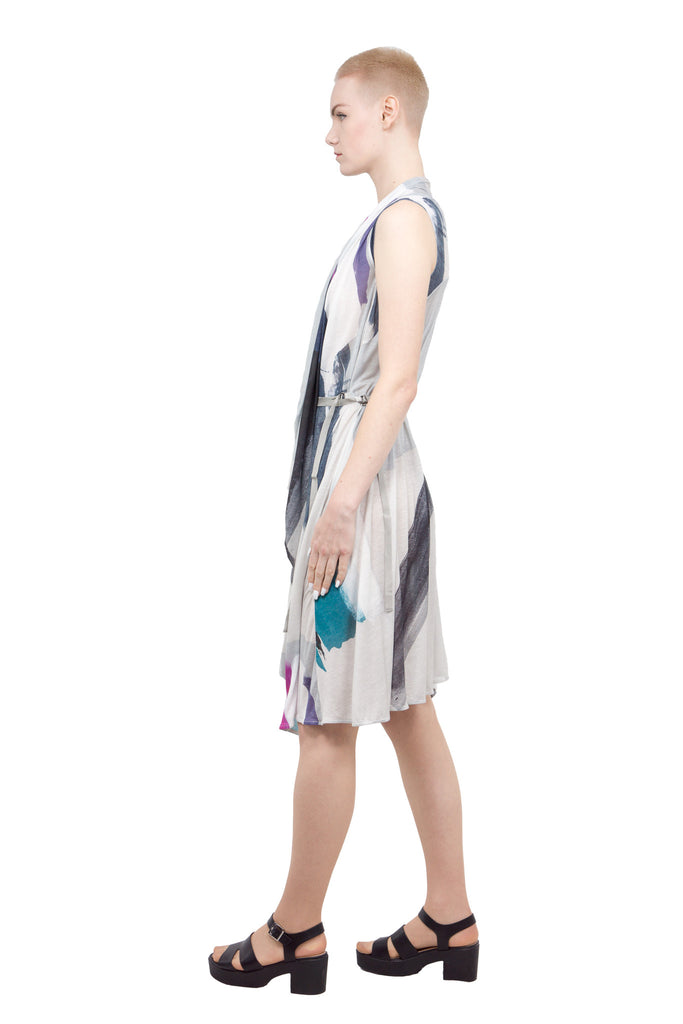Belted draped dress by Divka - Butikku ブティック