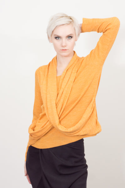 Cross-draped knitted top