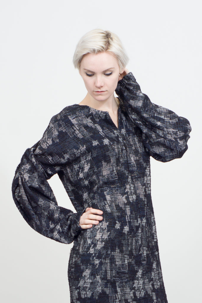 Jacquard twist sleeve dress