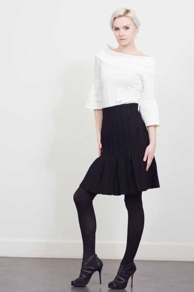 ripple pleat knitted skirt