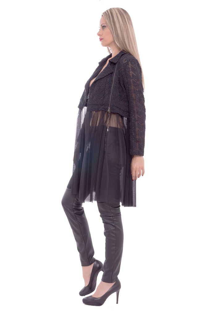 Shiroma - crop jacket with tulle - Butikku - 3