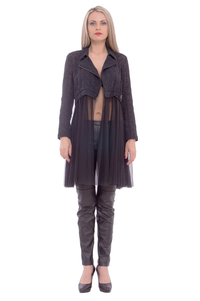 Shiroma - crop jacket with tulle - Butikku - 1