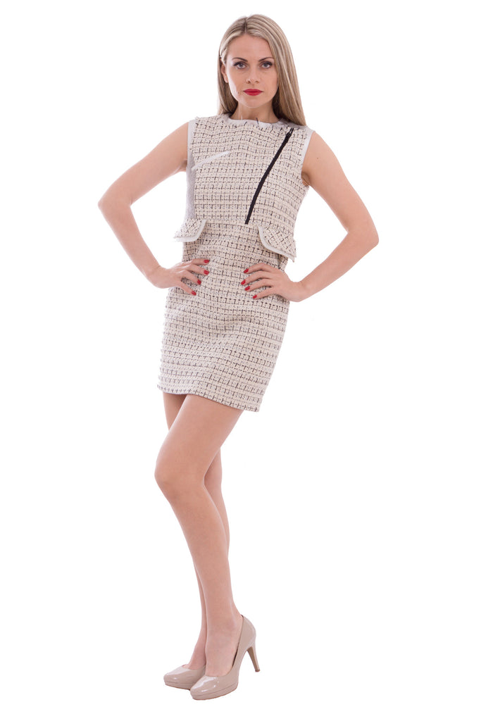 Aula - tweed dress with silver leather - Butikku - 3