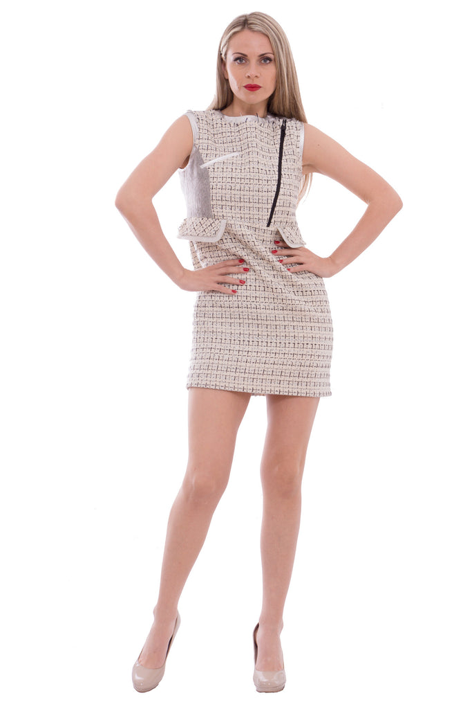 Aula - tweed dress with silver leather - Butikku - 6